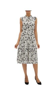 NWT BANANA REPUBLIC FACTORY Black And White Floral midi Dress Size 8