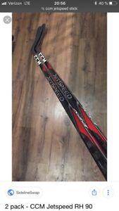 5 Bâtons de hockey ccm jet speed à vendre
