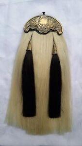 Scottish Kilt Sporran White Horse Hair Antique Cantle/Bagpipe Piper Kilt Sporran