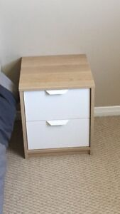 Withe Bed frame with Its matters & one 2-draws chest