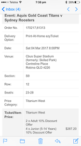 NRL tickets titans v roosters Ormeau Gold Coast North Preview