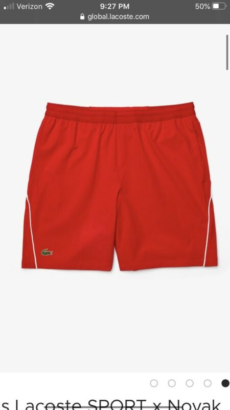 Lacoste Sport Novak Djokovic Semi Fancy Shorts Gh4781 NWT Red