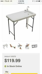 Portable fillet folding table/sink (new in box)