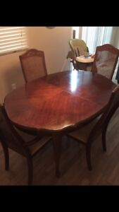 6 chair antique cherry wood dining set