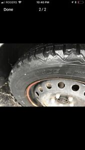 Winter tires mounted on rims 4 steels size 215/60r16
