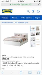 white ikea king malm bed with 4 storage drawers new in box