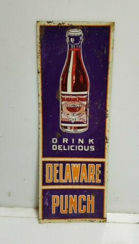 Vintage Delaware Punch Sign RARE Door Push ORIGINAL