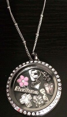 30mm Stainless Steel Memory Floating Magnetic Locket with necklace and 3 - Floating Locket Necklace And Floating Charms