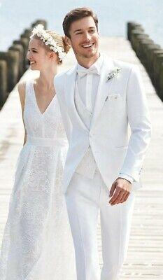 Weiß 3 Stück Anzug (Mode Männer Weiß 3 Stück Herren Anzüge Tweed Smoking Anzüge Hochzeitsanzug 44-62)