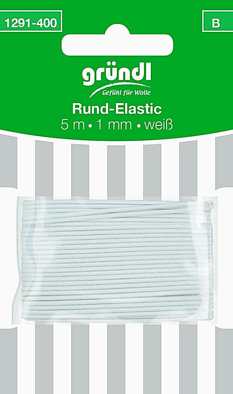 Rundgummi Gummikordel Hutgummi  weiß   5 m x Ø 1 mm   Deco Elastic gründl
