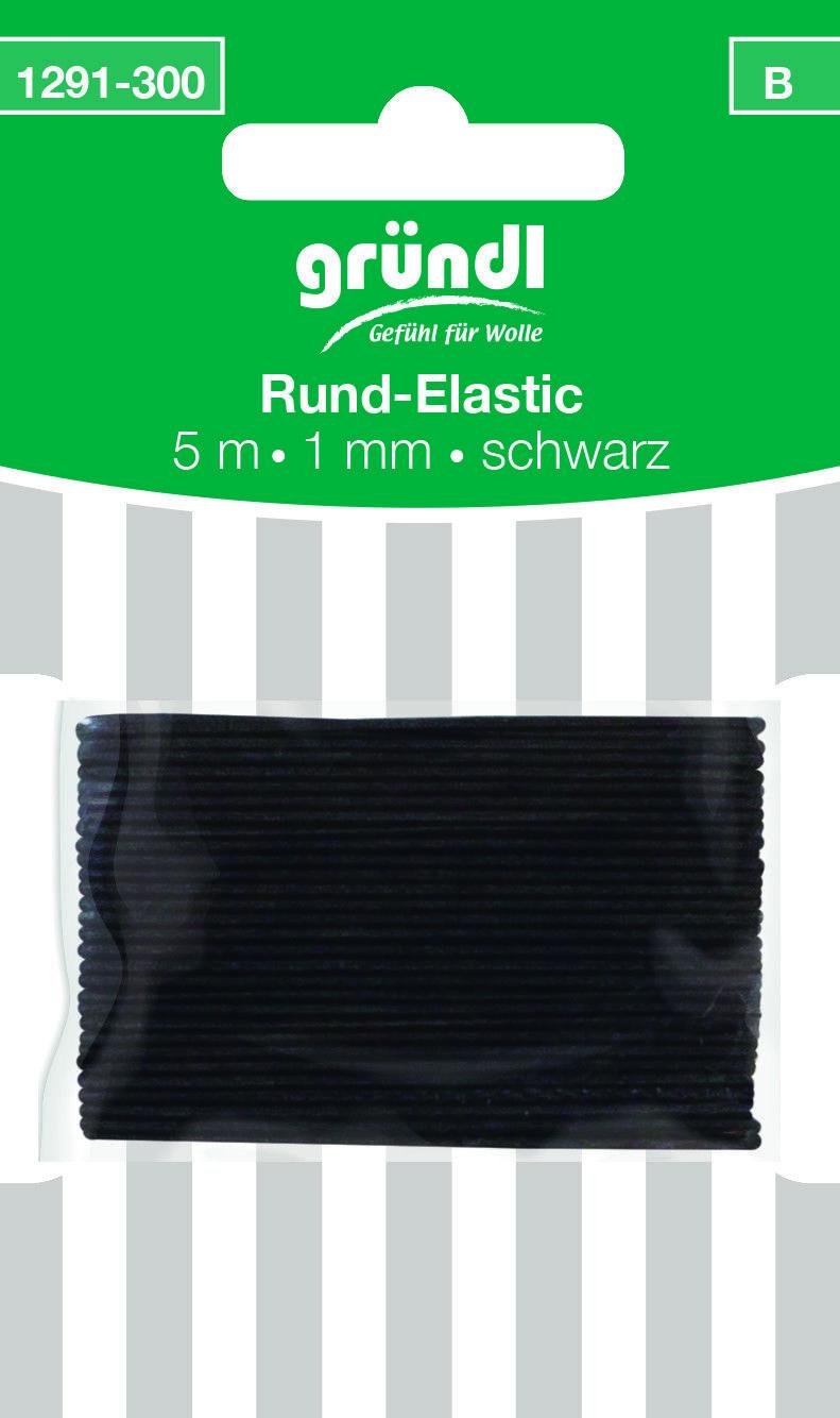 Rundgummi Gummikordel Hutgummi  Schwarz   5 m x Ø 1 mm   Deco Elastic gründl