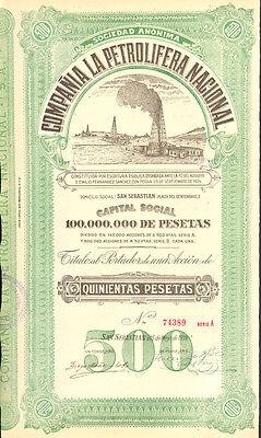The National Oil Company > 1928 San Sebastian Spain bond certificate share