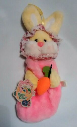 Vintage Easter Bunny Stocking Plush Well-Made Toy Girl Pink Yellow 1988 W/ Tags