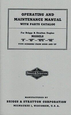 Briggs Stratton Operating Maintenance Manual Models N Np Npr Nr Gas Engine Motor