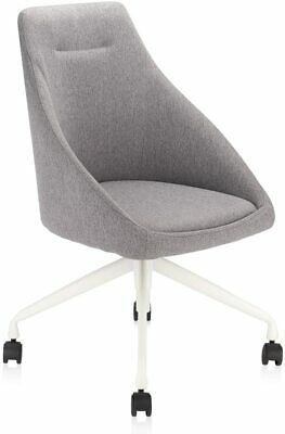 Grey Fabric Desk Chair Swivel Armless With Mid Back And Modern Style For Office