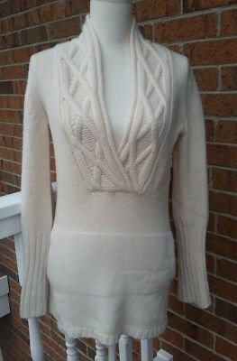 (Theory Beige Cashmere Long Sleeve Cable Knit V Neck Oversize Sweater Size P)