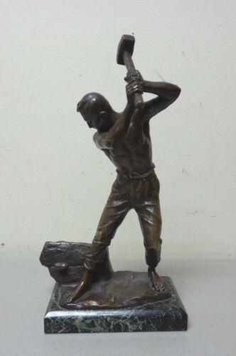 "ORIGINAL FERDINAND LUGERTH (1885-1915) BRONZE SCULPTURE ""THE STONEMASON"""