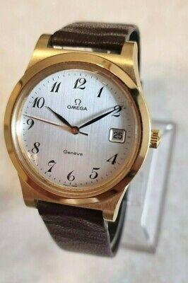 Vintage Omega Geneve 18K Gold Plated Date Watch