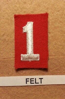 Felt Number - BSA RED FELT TROOP UNIT NUMBER 1 -(MINT CONDITION) GAUZE BACK 1927~1952   FB001
