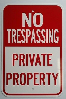12x18 No Trespassing Private Property Aluminum Signs Heavy Duty Metal Land