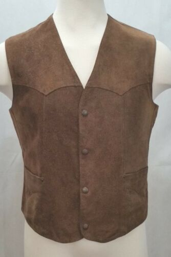 Pioneer Wear Raw Leather Mens Vest - Size 42 - Mens M/L  Snap Front Dark Brown