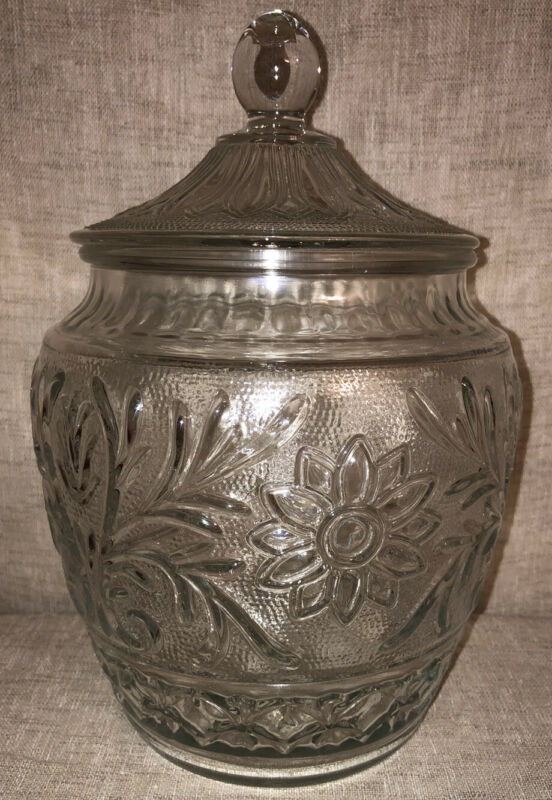 Vintage Anchor Hocking Sandwich Glass Canister Cookie Jar 10""