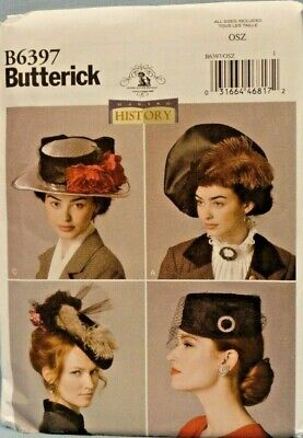 BUTTERICK PATTERN 6397  HATS HISTORY 1912 STYLE MISSES SIZES XS S M L  UNCUT