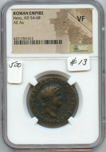Ancient Roman Nero AD 54-68 AE (#13)  NGC VF.