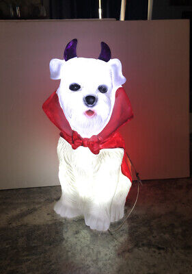 "18"" LED Dog Vampire Devil Blowmold Halloween Lighted West Highland Scottie Cape"