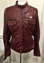 Women's burgundy leather jacket, size L, never worn. Willoughby East Willoughby Area Preview