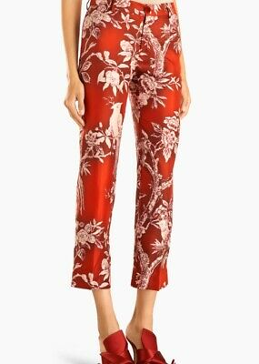 For Restless Sleepers F.R.S Fall 2018 Red Silk Bird Pattern Women's Pants
