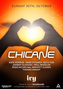 Chicane tickets  x 3 30th October Sydney City Inner Sydney Preview