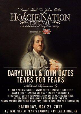 DARYL HALL & JOHN OATES / TEARS FOR FEARS 2017 PHILADELPHIA CONCERT TOUR POSTER