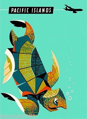 Hawaii Hawaiian Sea Turtle Qantas United States Travel Advertisement Poster