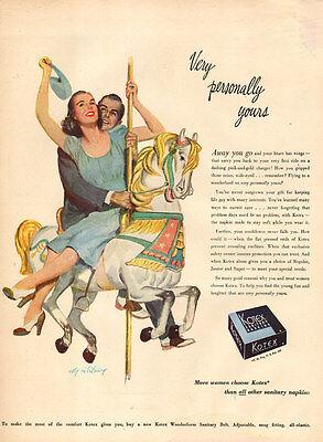 1950  AD KOTEX Sanitary Napkins Feminie Protection Art Coby Whitmore 103016