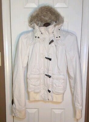 NWOT RARE M Abercrombie & Fitch Women's faux fur lined hoodie jacket coat medium
