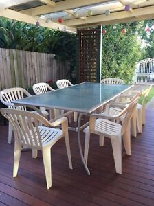 Glass-topped outdoor table with 8 chairs Croydon Burwood Area Preview