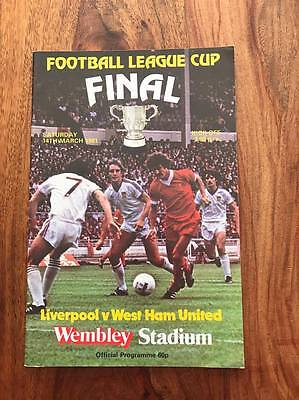 LIVERPOOL V WEST HAM UNITED 1981 LEAGUE CUP FINAL PROGRAMME FREE POSTAGE LOOK
