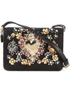 26549720b0 NWT 3.8K DOLCE   GABBANA Lily Twist Gilded Sacred Heart Clutch Cross Body  Bag