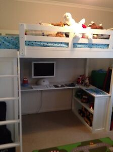 Kids White Timber Bunk Bed with Desk and Bookshelves Underneath Wollongong Wollongong Area Preview