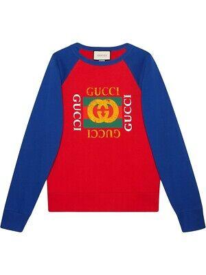 NWT Gucci Vintage Logo Print Red/Blue Jersey Sweatshirt Size L $980.00