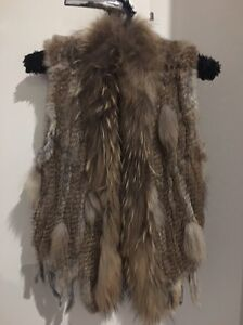 Rabbit fur with Raccoon trim Vest Jacket - Custom made paid $280 Coomera Gold Coast North Preview