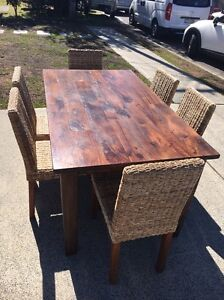 URGENT- hardwood dining table with six dining chairs North Avoca Gosford Area Preview