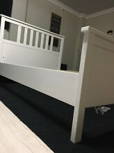 WHITE STAIN WOODEN DBL BED - AS NEW! Hamersley Stirling Area Preview