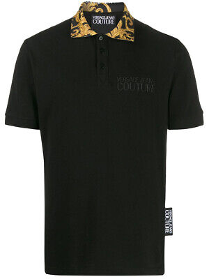 VERSACE JEANS COUTURE Men Baroque Collar Print Black Polo Shirt BNWT & Original
