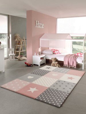 Kinderteppich karo Herz rosa weiss grau diverse Maße  ()
