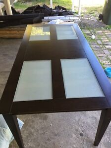 Frosted glass wooden dining table Lutwyche Brisbane North East Preview