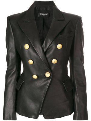 BALMAIN Double Breasted Leather Blazer Black