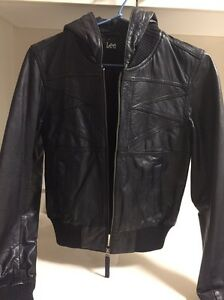 Womens Lee Leather Hooded Black Jacket size small North Sydney North Sydney Area Preview