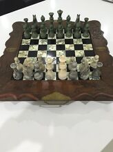 VINTAGE HAND CARVED WOODEN CHESS SET WITH STONE PIECES Shell Cove Shellharbour Area Preview